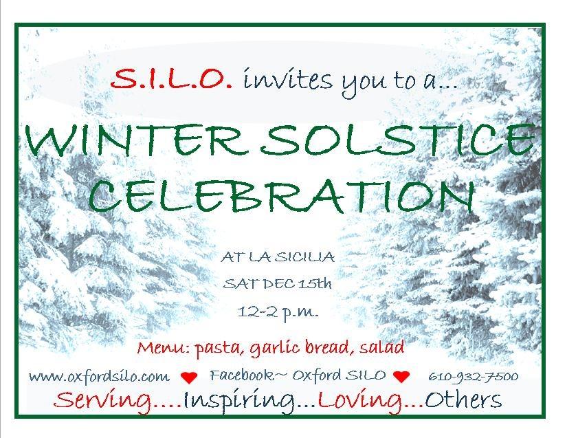 Winter Solstice Meal,  December 15th, 12-2pm behind La Sicilia's